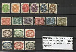 Germania - Baviera -1920 - Francobolli di Servizio - Vedi Descrizione- (FDC8719)