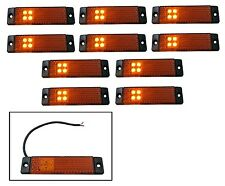 10 X 24V LED Amber Orange Outline Rear Tail Side Marker Lights Lamp Truck Lorry