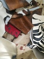3.lbs Upholstery Hair on Hide Scrap Leather Pieces,MixedColor,Sizeand Weight