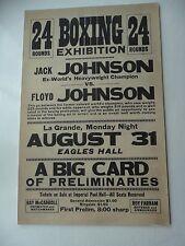 1931 JACK JOHNSON v Floyd Johnson Boxing Exhibition On-Site Poster