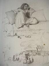 GRAVURE XIXe CROQUIS de VOYAGE en EGYPTE  signée Karl Girardet 1842