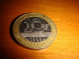 FRANCE 1989, 10 Francs Bi-metallic Coin, Nice & Decent Circulated