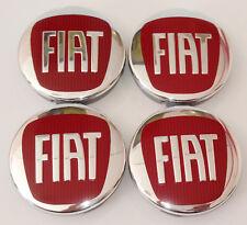 Fiat 4 x 60mm Alloy Wheels Centre Caps - Red 6cm