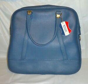 Vintage American Tourister Luggage BLUE Tiara Tote Bag Carry On Weekender CLEAN