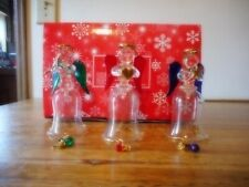 "Angelic Glass Bells Set of 3 Avon Peace Joy Love 4 1/2"" tall new on box"