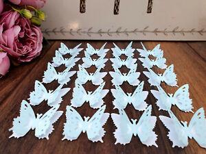 20NO 3D Paper Butterflies White & Blue Silhouette BabyShower/Table Dec/Weddings