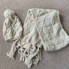 Cream Knitted Hat And Scarf Set