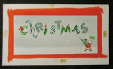 "CHRISTMAS Festive Santa Claus Wishes Sign & Tree 14x8"" Greeting Card Art #71112"