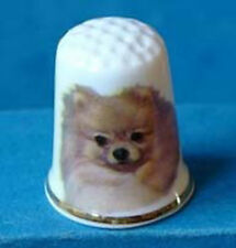Birchcroft China Thimble -- Pomeranian Dog with Free Dome Gift Box