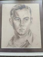 1944 vintage antique Usn navy Charcoal Portrait man Soldier army Wwii drawing