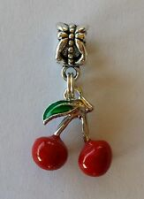 Cherry Charm Pin up Rockabily fit European Charm Bracelet or Necklace Jewelry