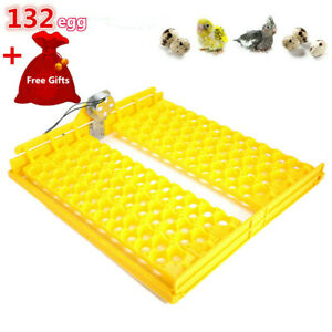 Automatic Eggs Turner 132Egg Chicken Duck Quail Bird Poultry Incubator Tray 110V