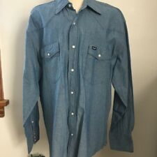 Vintage Wrangler Blue Denim Chambray Western Shirt Pearl Snap Mens XL
