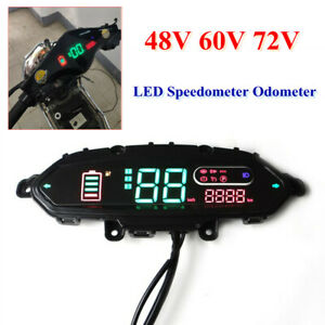 Electric Bicycle LED Speedometer Meter Odometer 48V-72V Left/Right Turn Display