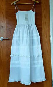 ZARA Strappy Cotton Midi Dress Sundress With Matching Ruffles S M L White Poplin