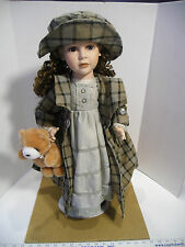 "Ashley Belle 25"" Victorian Porcelain Victorian Doll with Teddy Bear - EUC"
