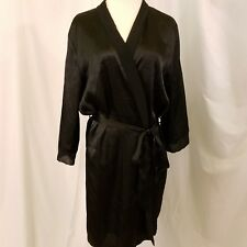 kimono dressing robe black satin chiffon tie belt lounge lingerie sz SM M NEW