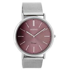 """Oozoo vintage reloj de cuarzo unisex """"plata"""" violeta c8155 mesharmband reloj Sunray"""