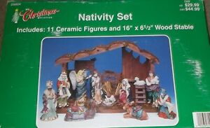 "WOODEN NATIVITY Creche w/11 CERAMIC FIGURES Christmas 11"" H x 16"" W x 6"" D"