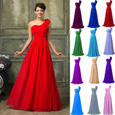 GK One Shoulder Long Chiffon Vintage Bridesmaid Evening Gown Prom Party Dresses