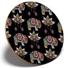 1 x Colorful Elephant Lotus - Round Coaster Kitchen Student Kids Gift #14789