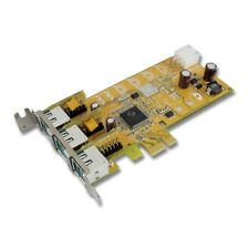3-Port 12V Powered USB Low-Profile PCI Express Card Plug-n-Play