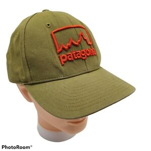 Patagonia  Roger That Hat Orange Mountains Embroidered Ultra Rare Olive Green