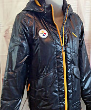 Nike NFL Steelers Womens Puffer Thermore Hooded Jacket Small Earbud Port Black