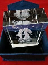 Glass Paperweight with Blue Box Etched with Love and a Couple Kissing