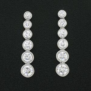 Tiffany & Co. Jazz Platinum 1.26ctw Bezel Diamond Graduated Drop Dangle Earrings