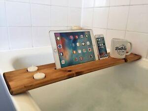 Wooden Bath Caddy Tray Bar Board Shelf Wine Tablet Holder Medium Oak