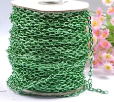 2M Green Plated Cable Open Link Iron Metal Chain Jewelry Findings