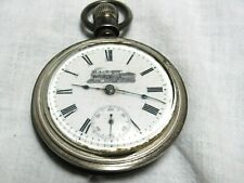 Locomotive Logo Pocket Watch As Is Antique New Era Cwc Sterling Silver