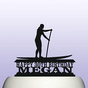Personalised Acrylic Woman Paddleboarding Birthday Cake Topper Decoration