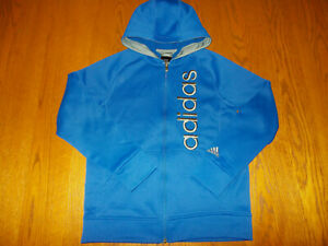 ADIDAS FULL ZIP BLUE HOODED SWEATSHIRT JACKET BOYS LARGE 14-16 EXCELLENT COND.
