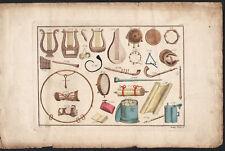 1810 Gravure originale grecs instruments de musique lyres cithare guitare Grece