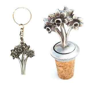 Gift Set Daffodils Flower Hand Crafted Pewter Bottle Stopper And key ring