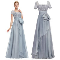 Short Sleeve Chiffon&Lace Ball Gown Evening Prom long Masquerade Party Dress NEW