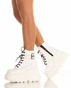 Women High Wedge Heels Lace Up Ankle Boots Punk Goth Platform Shoes Creeper Size