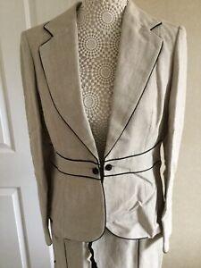 Principles Ladies Beige Trouser Suit - Petite - Size 12 /14 BNWT RRP £114