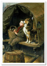 NEW! Сute Boy & Dog ART Russian Postcard modern Card #51