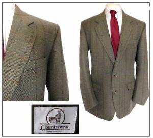 """Countrywear Mi England Mens tweed Jacket Blazer Ch46""""R Blue mix Herringbone"""