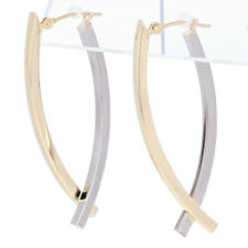 Crossover Hoop Earrings - 14k Yellow & White Gold Pierced Snap Closures