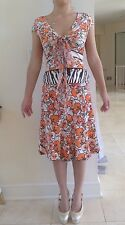 Roberto Cavalli Silk Skirt &Cotton Top Set Orange Poppy Seed Flower Size 40