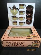 Stoneware Brown Drip Child Coffee or Tea Set Vintage
