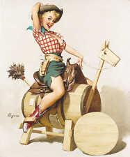 'WELL BUILT' 1954 GIL ELVGREN VINTAGE PIN UP GIRL WESTERN POSTER PRINT 50x42