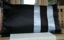 BLACK AND SILVER SATIN BOLSTER CUSHION COVER