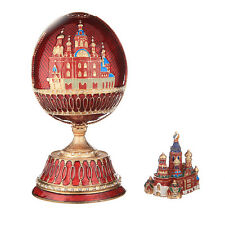 Russian Faberge Egg Music Box Church of Savior on Blood St-Petersburg 7.1'' red