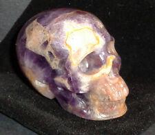 "2"" Carved Dream Chevron Amethyst Crystal Skull w/Black Velvet Drawstring Pouch!"