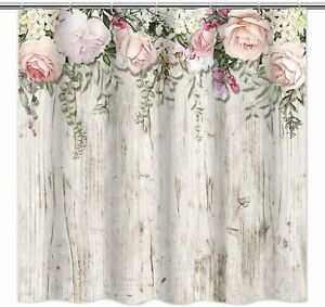 Pink Rose Floral Gray Rustic Wood French Country Farmhouse Fabric Shower Curtain